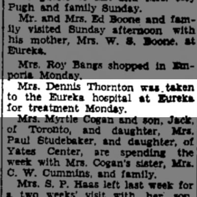 Mrs Dennis (Lettie) Thornton - hospital