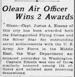 justus emens, SS DFC, democrat and chronicle, 27 apr 43