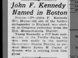 JFK elected to U.S. House of Representatives from Massachusetts 11th District in 1946