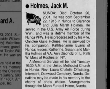Obituary for Jack M. Holmes, 1915-2001