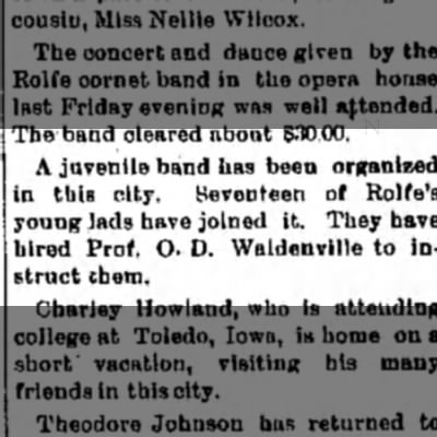 The Humbolt RepublicanHumbolt, IowaThursday, Jan 26, 1899 - The band cleared about 830.00. A juvenile band...