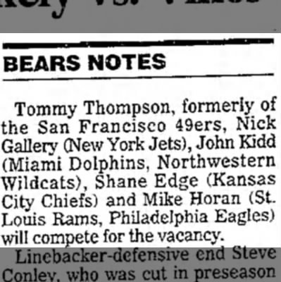 Sauerbruen unlikely vs. Vikes (Bears Notes) Daily Herald (September 22, 1998) -