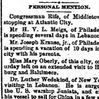 Miss Mary Oberly - PERSONAL MENTION. Congressman Rife, of...