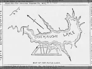 Map of Lake Conemaugh prior to the Johnstown Flood of May 31, 1889