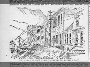 Artist's depiction of damage to Johnstown's Main Street after deadly flood of 1889