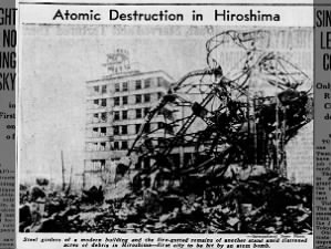 Picture of atomic destruction after the bombing of Hiroshima