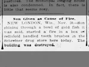 Sun Given As Cause of Fire