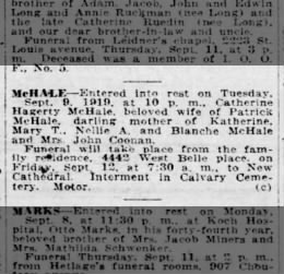 Catherine Hagerty McHale death notice 1919