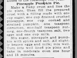 1930 pineapple pumpkin pie recipe
