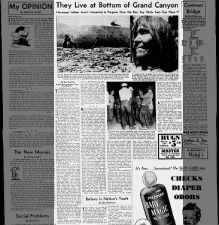 1950 correspondent article about the Havasupai people living in the Grand Canyon since the 12th C.