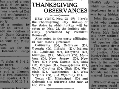 Clip of the Day: 25 states follow Roosevelt's decision to celebrate Thanksgiving a week early