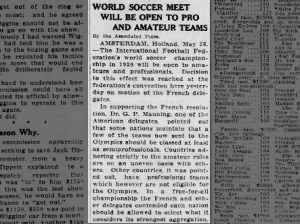 World soccer championships in 1930 will be open to amateurs and professionals