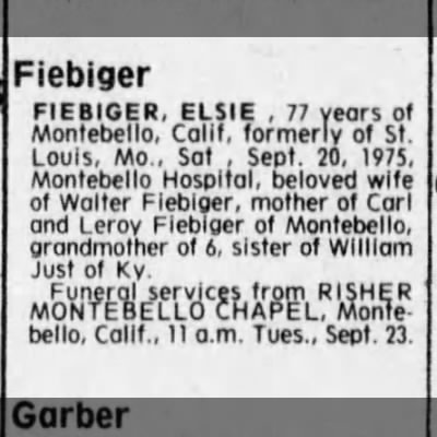 St. Louis Post-Dispatch Obituary of Elsie Fiebiger, 22 Sep 1975
