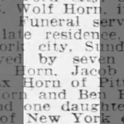Wolf Horn Obituary - Wolf Horn, Funeral residence. city. by seven...