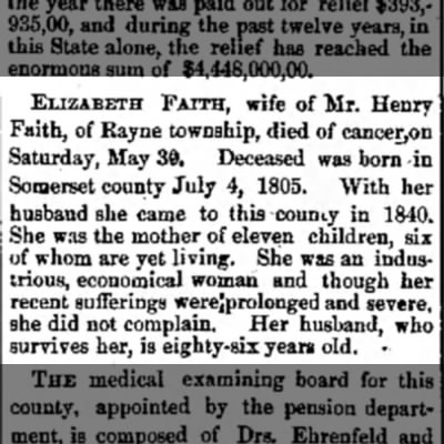 - ELIZABETH FAITH, wife of Mr. Henry 'aith, of...
