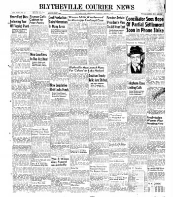 The Courier News from Blytheville, Arkansas on April 8, 1947 · Page 1