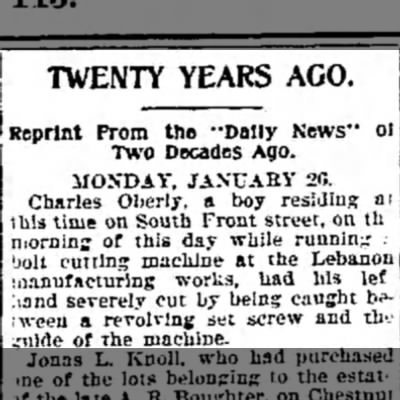 """Charles Oberly - TWENTY YEARS AGO. Reprint From the """"Dally News""""..."""
