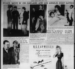 Newspaper photos from the June 1943 Zoot Suit Riots in Los Angeles, California