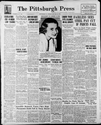The Pittsburgh Press from Pittsburgh, Pennsylvania on January 23, 1938 · Page 1