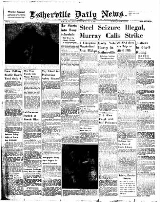 Estherville Daily News from Estherville, Iowa on June 2, 1952 · Page 1