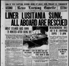 Early headlines about the sinking of Lusitania; Mistakenly says all aboard were rescued