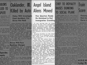 Detainees are moved from Angel Island to the mainland following fire in 1940
