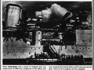Photo and description of USS Indianapolis Portland class heavy cruiser and its assets
