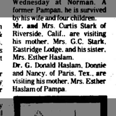 Starks and Haslams visiting Mrs. G.C. Stark  and Esther Haslam in Pampa, Texas -