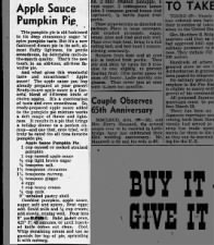 1951 recipe for Apple Sauce Pumpkin Pie with heavy cream