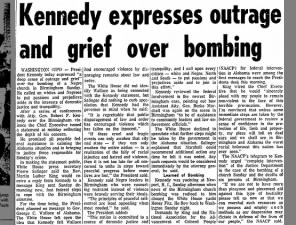President John F. Kennedy expresses outrage and grief over Birmingham Church Bombing