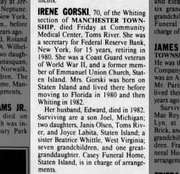 Gorski, Irene - Obituary - 17 Dec 1990