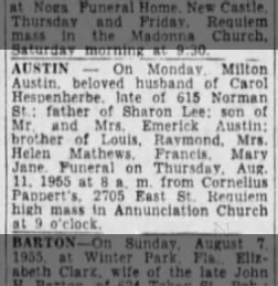 Austin, Milton Death Notice Pittsburgh Press 9 Aug 1955 Tue Page 26