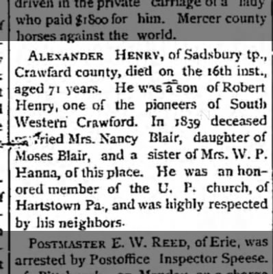 My 3rd great-grandfather. - ALEXANDER HENRY, of Sadsbury tp., , Crawfard...