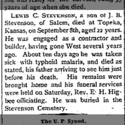 Lewis C. Stevenson dies; son of J. B. Stevenson. 1885. -