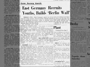 East Germany begins construction on the Berlin Wall