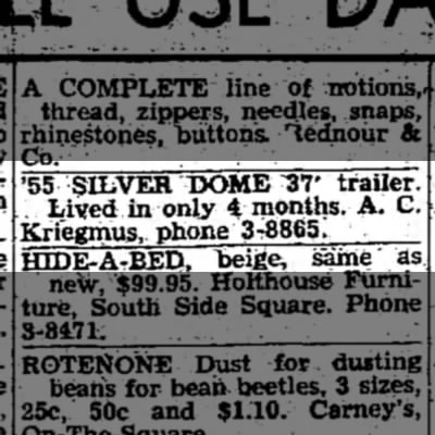 A.C. Kriegmus, Greensburg Daily News, Greensburg, IN, Sat. June 22, 1957, p.1 - '55 SILVER DOME ^37' trailer. , Lived in only 4...