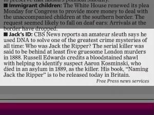 Amateur sleuth says DNA proves Jack the Ripper was Aaron Kosminski, 2014