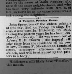 John Speer Obituary - 2 Apr 1880