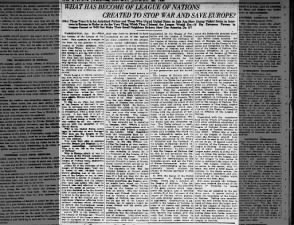 1923 opinion piece calling the League of Nations