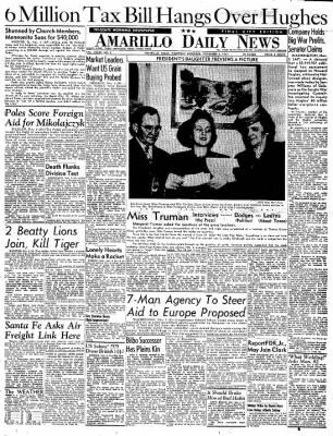 Amarillo Daily News from Amarillo, Texas on November 6, 1947 · Page 1