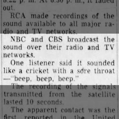 """Sputnik sounds """"like a cricket with a sore throat"""""""