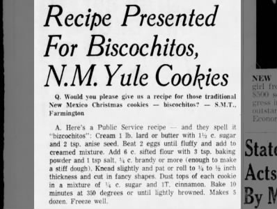 Recipe: Bizcochitos (1967)