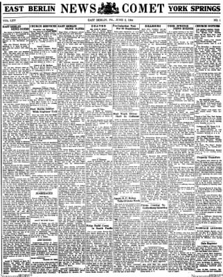 News Comet from East Berlin, Pennsylvania on June 2, 1944 · Page 1