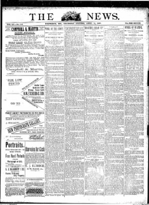 The News from Frederick, Maryland on April 11, 1889 · Page 1
