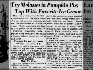 1950 pumpkin pie recipe made with molasses and served with vanilla ice cream