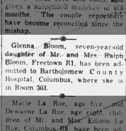 Glenna Bloom, 7 year old daughter of Mr and Mrs Bloom admitted to hospital