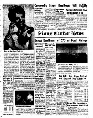 Sioux Center News from Sioux Center, Iowa on August 16, 1962 · Page 1