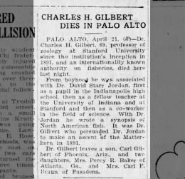 Charles H. Gilbert died in Palo Alto
