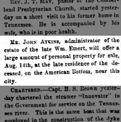 Wm Emert names John Atkins as administrator of estate; 8 Aug 1873 -