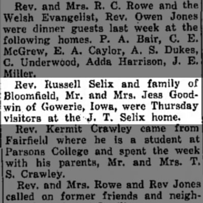 R. Selix visits J.T. Selix. - Rev. Russell Selix and family of lloomfield,...
